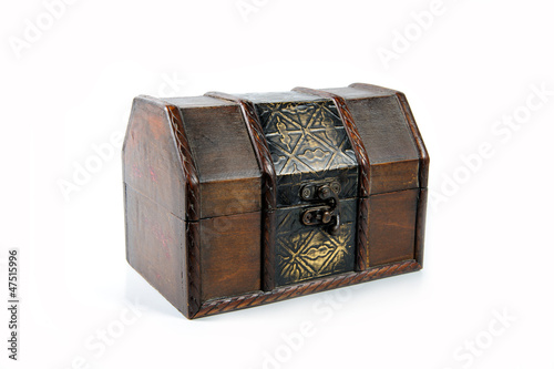 Treasure wooden chest isolated on white background