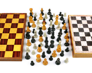 Two Old Chess Boards with Figurines in Peace and Union