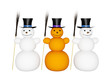 Snowmans with broom and hat