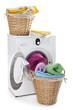 Laundry basket on a washing machine isolated on white background