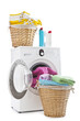 Laundry baskets and washing machine isolated on white background