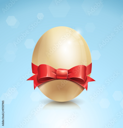 Shiny Easter Egg With Red Bow