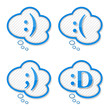 Speech bubbles with abstract text smiles