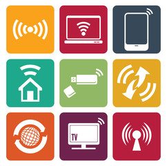 Wireless technology web icons set