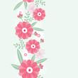 Vector peony flowers and leaves elegant vertical seamless