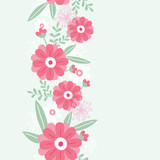 Vector peony flowers and leaves elegant vertical seamless