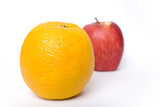 Comparing apples verses oranges on a white background poster