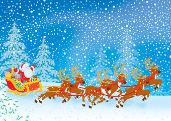 Sleigh of Santa Claus driving in snowstorm