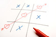 Game of Heart/Love,Tic-tac-toe on white background, love wins