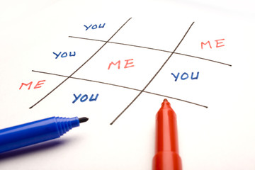 You & me on white background, Tic-tac-toe, Ego/ Confidence