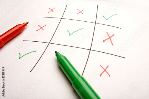 Tick & Cross on white background, checklist/ Tic-tac-toe