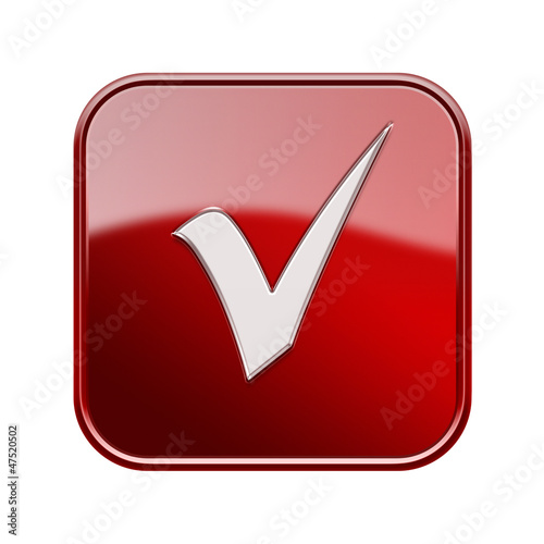 check icon glossy red, isolated on white background