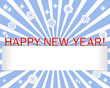 Stickers Happy New Year, snowflakes and blank banner.