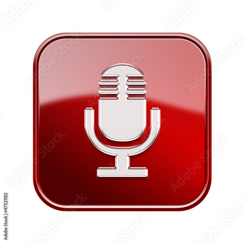 Microphone icon glossy red, isolated on white background