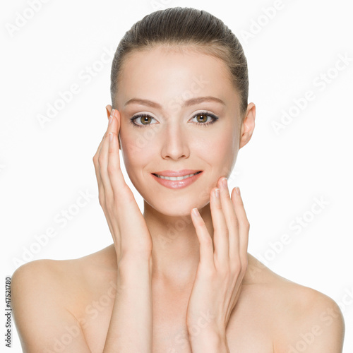 beautiful smiling woman with clean skin