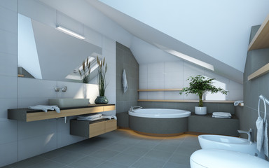 Bathroom in Grey and White Colours