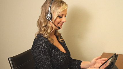 Very happy to help with customer service - blond woman
