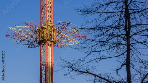 Drop tower in an amusement park in Chorzow, Silesia region,