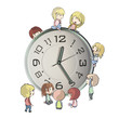 Kids playing around clock. Vector design.
