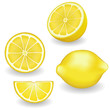 Fresh, natural lemons, four views: whole, half, slice, wedge.