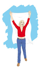 Woman holding white flag