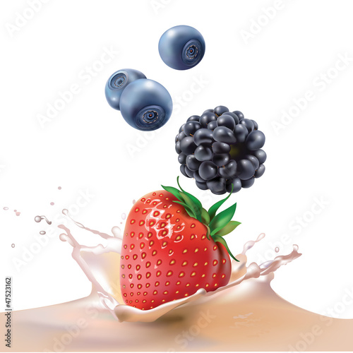 milk, blackberries, blueberries and strawberries