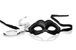 Black mask and handcuffs on white background