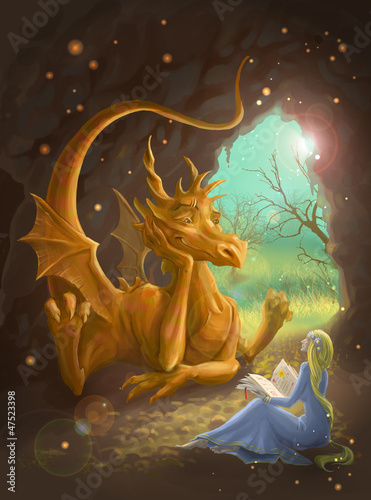 Deurstickers Draken dragon and princess reading a book