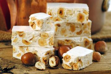 traditional italian nougat, torrone