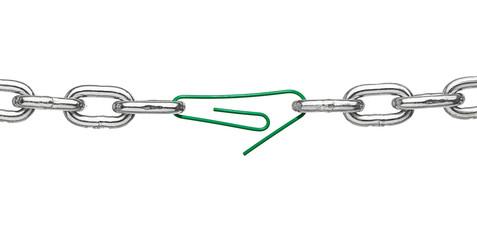 broken metal chain link paper clip office