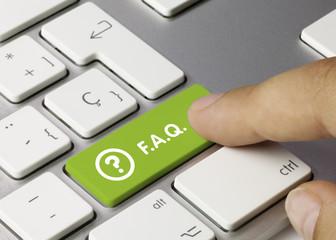 FAQ keyboard key. Finger