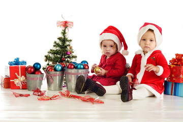 two serious santa girls