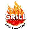 Grill sticker on fiery background