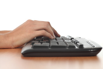 Woman hands on a keyboard