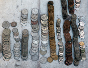 Mexican and US coins