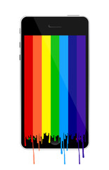 Smartphone with rainbow paint dropping