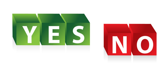 Yes No - 3d red green cubes