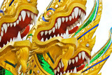 Fototapety headed dragon in temple Thailand