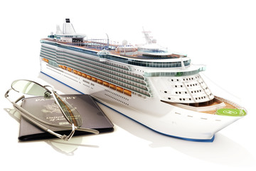 Cruise ship with passport and glasses