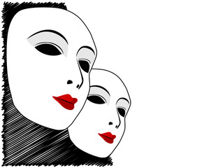 White mask and black and white background