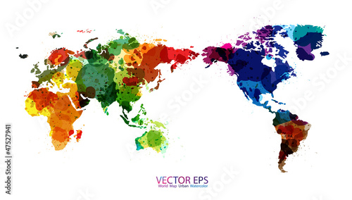 World Map Watercolor, Vector illustration
