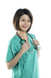 Chinese women doctor wearing a green scrubs