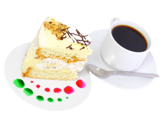 A piece of sponge cake with cup of coffee.