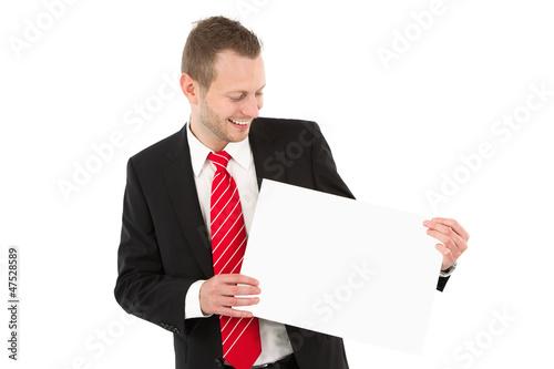 Geschäftsmann mit Werbeschild