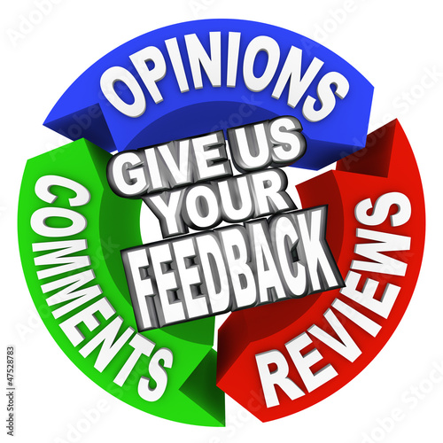 Give Us Your Feedback Arrow Words Comments Opinions Reviews