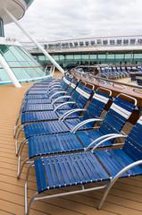 Folding lounge chairs on a ship