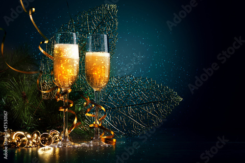 Glasses of champagne at new year party - 47530167
