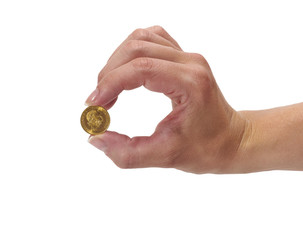 Woman holding coin Ducat