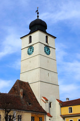 The advice tower in the Little Square of Sibiu, Romania