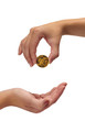 Woman holding coin above hand